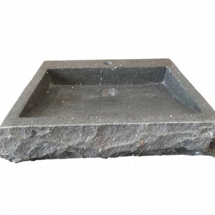 Lavabo rectangulaire en pierre andésite d'appui Nisa fait à main