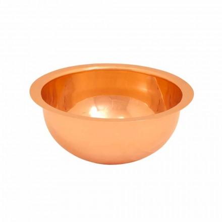 Vasque lavabo à poser rond en cuivre Flora, de design, faite à la main
