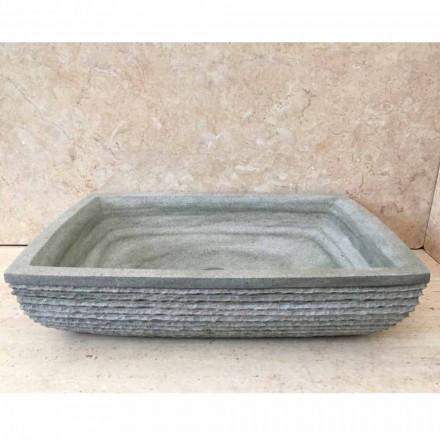 Lavabo d'appui vert de design pour bain Hilda, en pierre naturelle