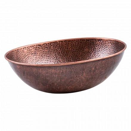 Lavabo à poser ovale moderne en cuivre, Pagliara, pièce unique
