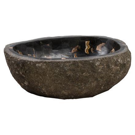 Lavabo à poser fait main en pierre de rivière, Palizzi, pièce unique