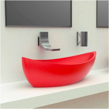 Lavabo de design moderne en Solid Surface fabriqué en Italie, Sashimi