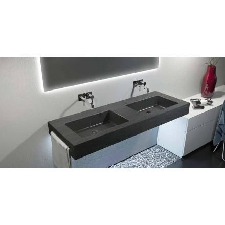 Lavabo double vasque suspendu moderne en Texolid made in Italy Rufina