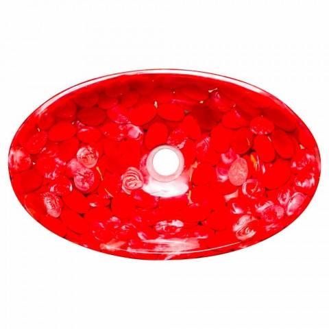 Evier de comptoir moderne en résine rouge fait main, Buscate