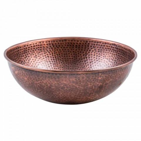 Lavabo de comptoir rond en cuivre fabriqué à la main, Palaia