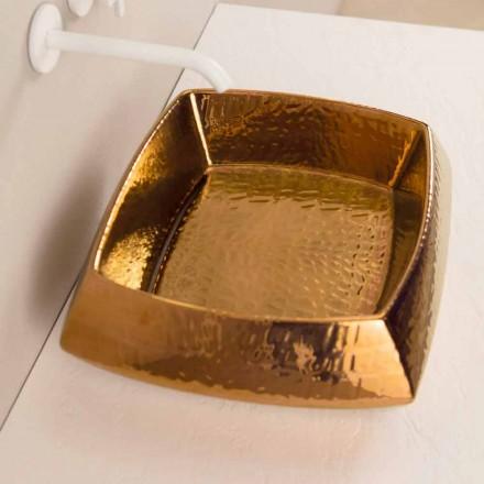 Lavabo d'appui de design en céramique bronze, fait en italie Simon