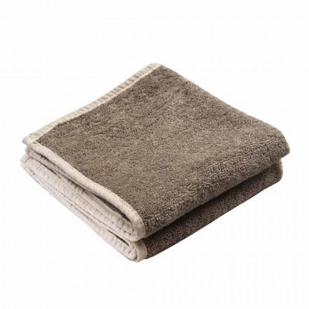 Serviette de bain pour invités en tissu éponge avec bordure en lin mélangé 6 pièces - Peigne