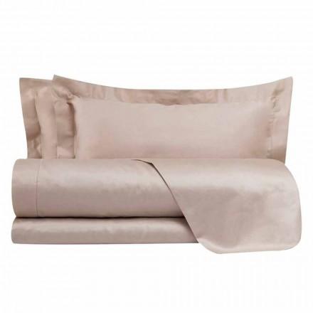Ensemble de draps en satin de coton pour lit double de couleur unie - Freesia