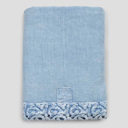 Draps de lit double en lin avec dentelle Poema, 3 finitions - Dulcis