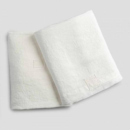Draps doubles en lin blanc naturel avec et sans coins - Tenerino