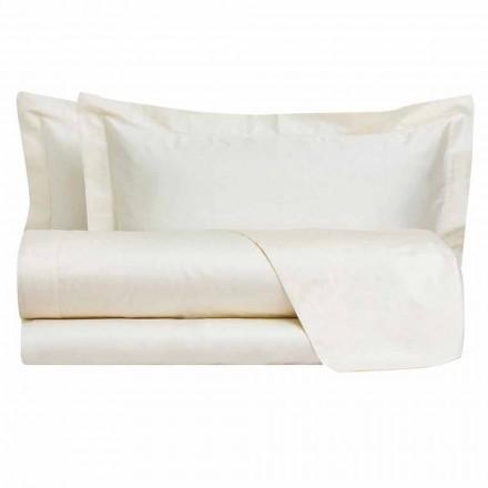 Draps de couleur unie complets en satin de coton pour lit double - Hibiscus