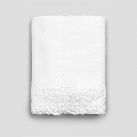 Drap plat en lin blanc avec dentelle pour lit double de haute qualité - Fiumana