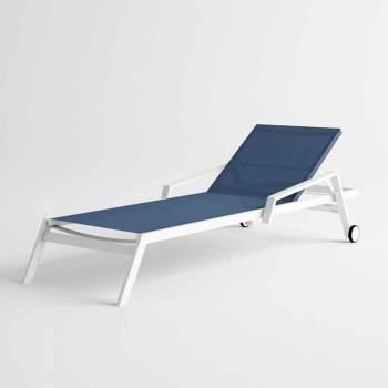 Bain de soleil d'extérieur en aluminium avec roues et accoudoirs Design moderne - Carmine