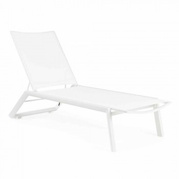 Chaise longue d'extérieur inclinable avec roues en aluminium et textilène - Jewel