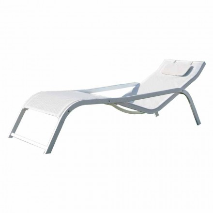 Chaise longue de jardin empilable en aluminium et toile Made in Italy 2 pièces - Ethan
