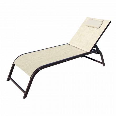 Chaise longue de jardin en aluminium et toile de luxe Made in Italy, 2 pièces - Myrto
