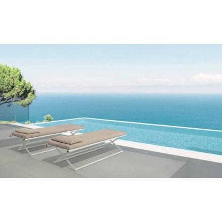Lit de jardin moderne Domino Talenti en teck et aluminium, pliable