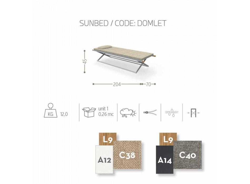 Bain de soleil en teck et aluminium Domino Talenti, pliable