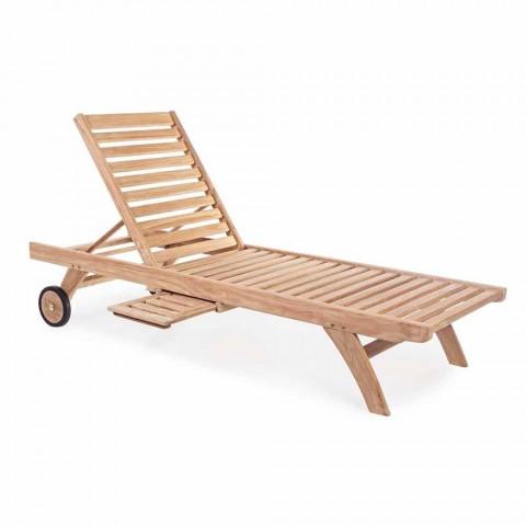 Chaise longue de jardin inclinable moderne avec roues en bois de teck - Canaries