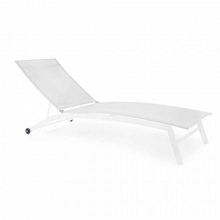 Chaise longue de jardin inclinable à roulettes, design moderne, pour l'extérieur - Osvaldo