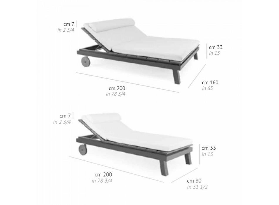 Lit double d'extérieur en aluminium blanc ou noir et bois - Cynthia