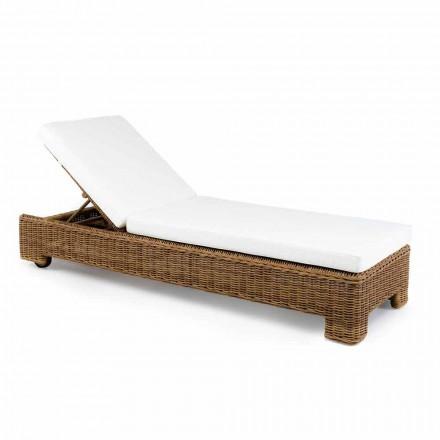 Chaise longue d'extérieur simple ou double en rotin synthétique de luxe - Yves