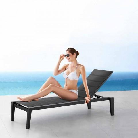 Bain de soleil en aluminium avec coussin en textilène, 3 finitions - Moira