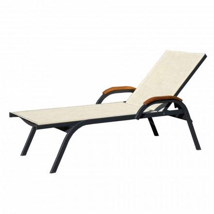 Chaise longue en aluminium, toile et bois Made in Italy, 2 pièces - Nisha