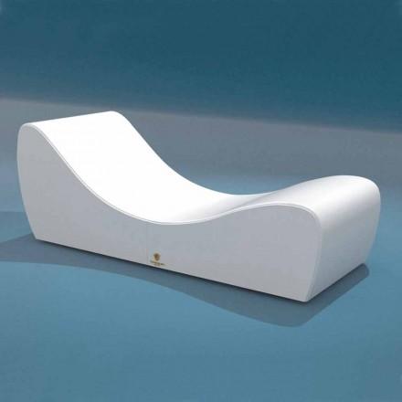 Chaise longue blanche de design moderne Onda par Trona