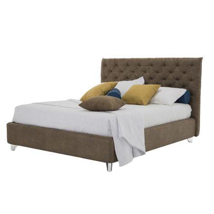 Conteneur de lit double rembourré en tissu ou simili cuir fabriqué en Italie - Euro