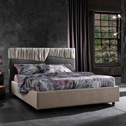 Lit double de design moderne avec tête de lit pliée ou matelassée - Alano