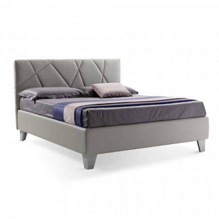 Lit Double Design Moderne Tapissé avec Boîte Fabriqué en Italie - Ciottolino