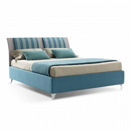 Lit double de luxe avec boîte en tissu bicolore fabriqué en Italie - Gagia