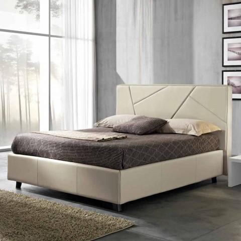 Lit Double En Faux Cuir Avec Coffre 160x190 200 Cm Mia Design Moderne