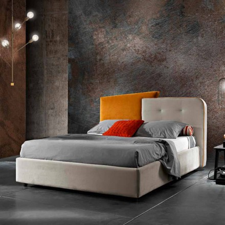 Lit Double Design Moderne en Velours Gris et Orange - Plorifon