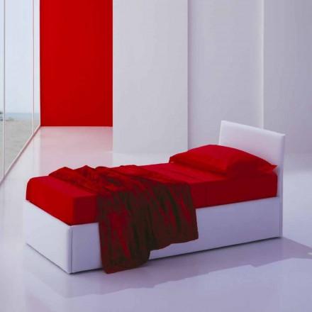 Lit simple avec tête de lit, structure en fer et bois Line by Bolzan