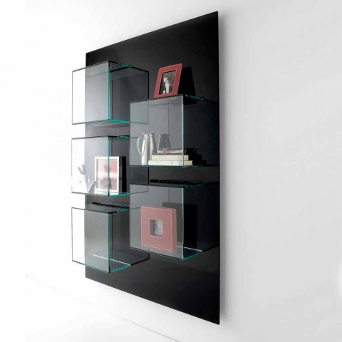 Bibliothèque murale Panneau de bois noir et étagères en verre 2 tailles - Basilic