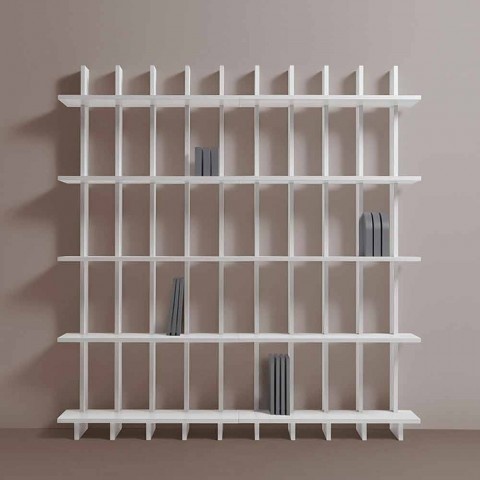 Bibliothèque murale Shabby Chic en bois de frêne blanc design - Babele