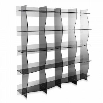 bibliothèque libre-debout / mur design moderne Pam fumé, fabriqué en Italie
