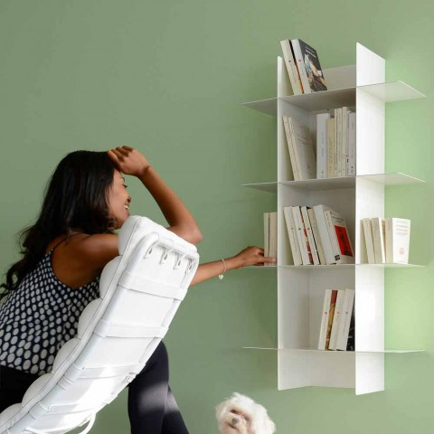Bibliothèque murale design modulaire en métal de différentes couleurs - Roger