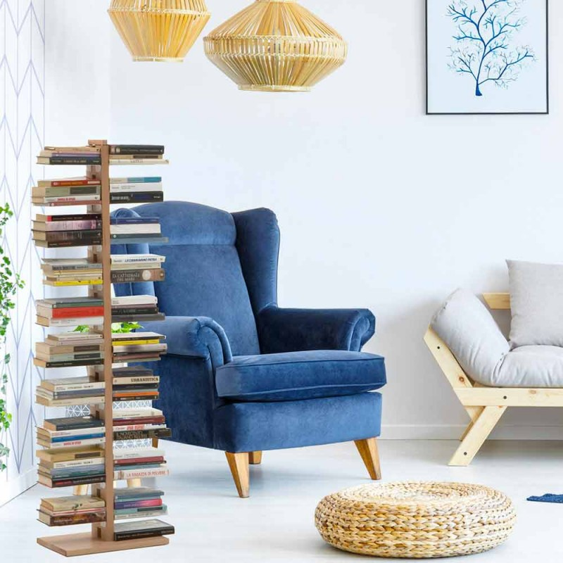 Bibliothèque à colonne moderne Zia Bice en bois fabriqué en Italie