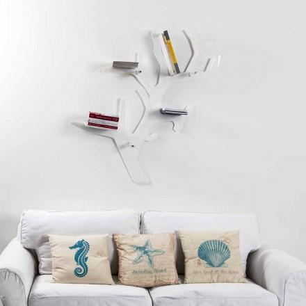 Étagère murale blanche de design moderne Carol, faite en Italie