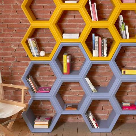 Bibliothèque murale Slide Hexa de fabrication italienne