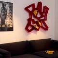 Bibliothèque mural modulaire en métal chromé et méthacrylate Heddy