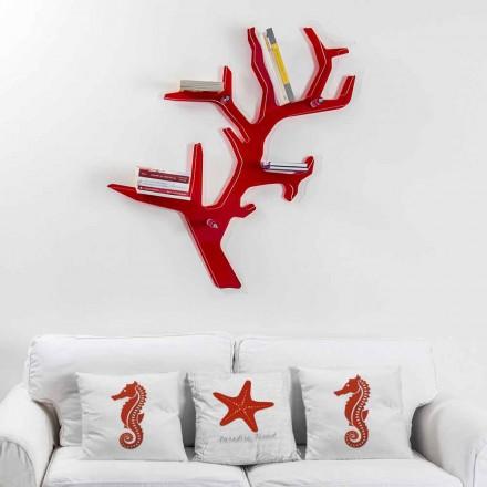 Étagère murale rouge de design moderne Carol, faite en Italie