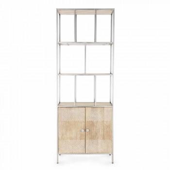 Bibliothèque de plancher avec structure en acier chromé et bois Homemotion - Madiz