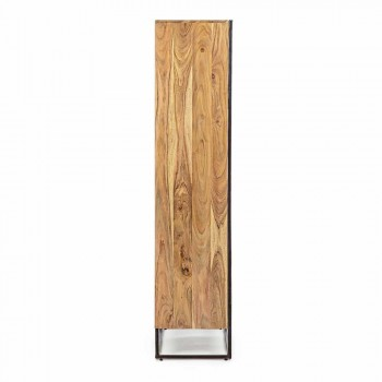 Bibliothèque de plancher avec structure en bois d'acacia et acier Homemotion - Golia