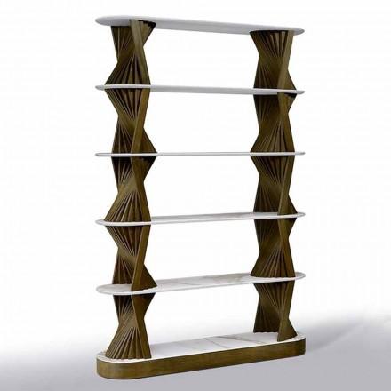 Bibliothèque de plancher de luxe en bois avec dessus en grès Made in Italy - Aspide