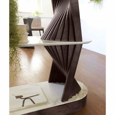 Bibliothèque de sol design en bois avec dessus en grès Made in Italy - Aspide