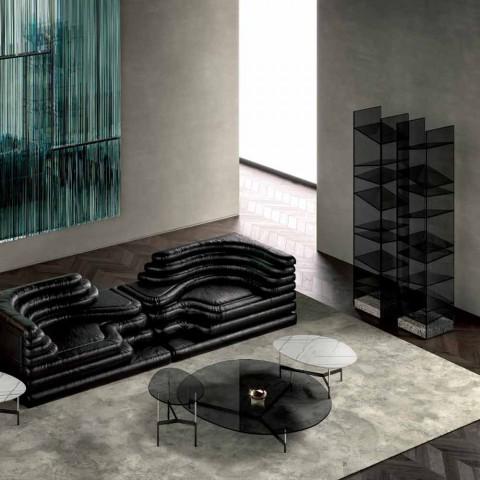 Bibliothèque Design Floor en Verre avec Base en Acier Made in Italy - Biba